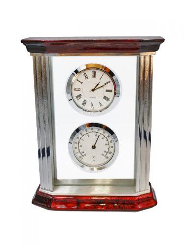 Σετ γραφείου ξύλινο με μπορντό σκούρα λάκα και ασημί inox με ρολόϊ Quartz