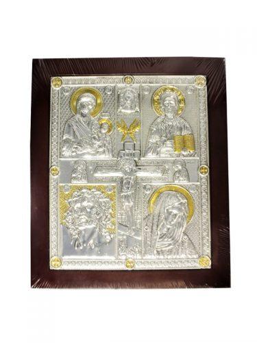 Ασημένια εικόνα με τέσσερα θέματα Χριστού Παναγίας και τη Σταύρωση