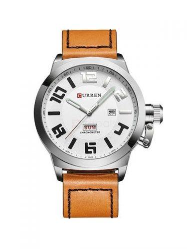 Ανδρικό αδιάβροχο ρολόι Curren με δερμάτινο λουράκι και καντράν με ένδειξη ημέρας και ημερομηνίας