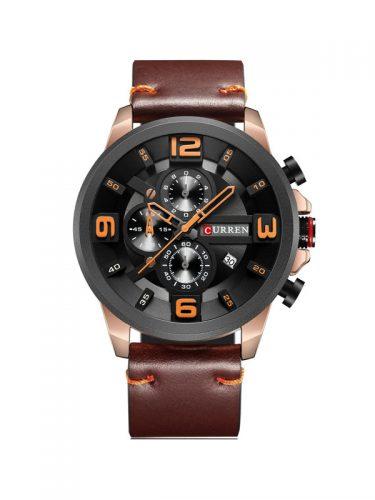 Ανδρικό ρολόι Curren με χρονογράφους, μαύρο δερμάτινο λουράκι